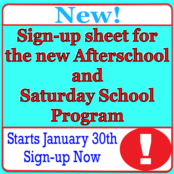 New Late Sign-up Form for Afterschool/Saturday School