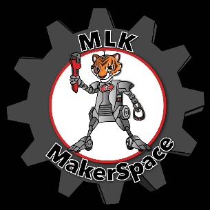 MLK Makerspace logo robot tiger with tools